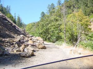 Bear Camp Road prior to Kim turnoff, 2007 landslide