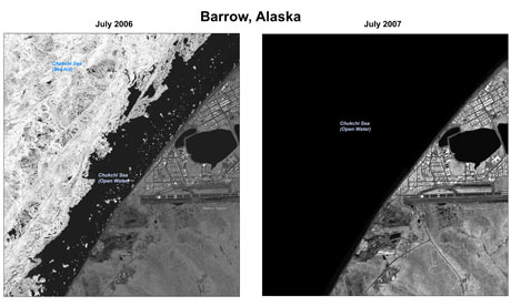 Hi res images show loss of polar ice from 2006 to 2007