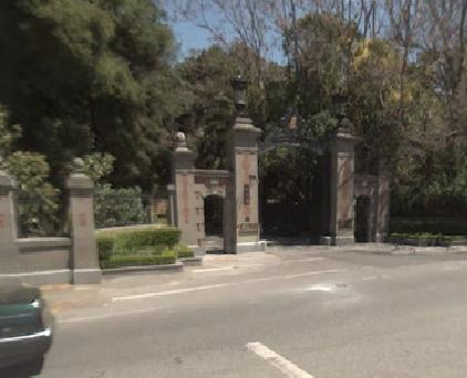 Linden Towers gate, Middlefield Rd at Linden Road, Atherton
