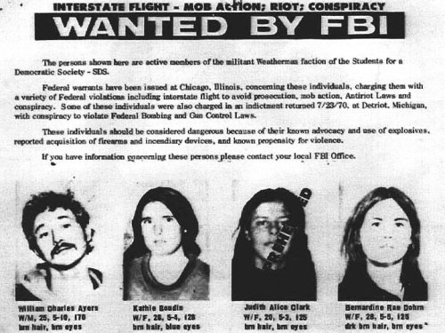 1970: Bill Ayres, Kathy Boudin, Bernadine Dohrn