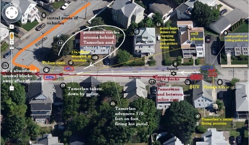 Reconstruction of Watertown Shootout. Path of circling officer and location of wounded officer are speculative. Click on image to enlarge.